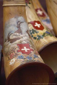 Alpine horns from the Appenzell Region of Switzerland. Zermatt, Bergen, Kitsch, Alpine Chalet, Swiss Chalet, Swiss Cottage, Swiss Miss, My Heritage, Vacation Spots