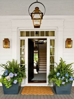 Hydrangeas, ferns, sweet potato vine make a great planter arrangement for the shade, and create a beautiful and welcoming vignette for this house.