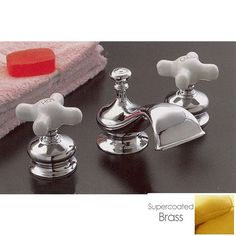 $463.50 Strom Plumbing Thames Widespread Lavatory Sink Faucet Set with Porcelain Cross Handles