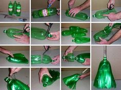 ummmmmm heaven on a stick for me.Make a Broom with recycled plastic pop bottles! Reuse Plastic Bottles, Plastic Recycling, Plastic Bottle Crafts, Recycled Bottles, Pet Recycling, Green Recycling, Water Bottle Crafts, Recycled Tires, Plastic Items