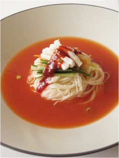 kimchi noodle soup , 김치말이 냉국수 korean food , http://blog.daum.net/aspoonful