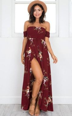 Embrace the summer with this red off shoulder maxi dress.