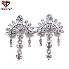 EPICFEAT Charming White Crystal/Glass Stone Dangle Earrings for Women Fashion Three Tassel Female Jewelry FSE025