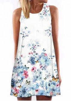 FLORAL BUTTERFLY PRINTED CASUAL SHIFT DRESS  Size Available: S/M/L/XL  was $42.90 now $17.16!