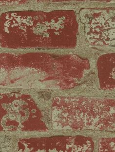 "Old Distressed Red Brick and Mortar  Tuscan by WallpaperYourWorld, $6.99   20.5"" W x 36"" One Yard Dimensions"