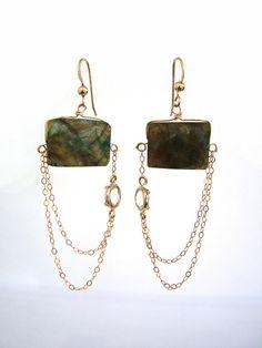 Modern Grecian Labradorite Earrings - 14k gold filled www.etsy.com/shop/catekatan