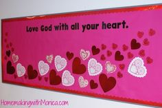 pinterest education ideas | Teaching Ideas / Valentines-Day-Bulletin-Board Would work great for public school just take the big man out of it....
