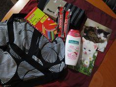 SY yleisrinki lokakuu: tyynyliina, paketti värikyniä, paksut mustaharmaaraitaiset sukkahousut, mustavalko kuvioinen tunika/paita, 2 salmiakkisuklaa patukkaa ja Palmoliven kirsikka-suihkugeeli.