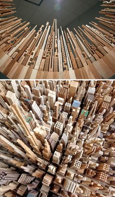 James McNabbhas crafted fine wooden designs using lasers and routers, but the band saw drove this stunning series of abstract city landscapes shaped into circles and in some cases patterned after furniture, from tables and shelves to chandeliers.