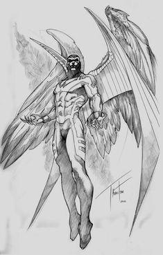 Archangel by Rod Thornton. X-Men: Marvel Comics Comic Book Characters, Comic Character, Comic Books Art, Comic Art, Hq Marvel, Marvel Comics Art, Bd Comics, Character Drawing, Character Design