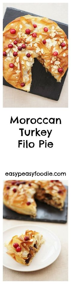 Turkey gets the star treatment in this gorgeous Moroccan Turkey Filo Pie, bursting with fruit, nuts and spices – perfect for your leftover turkey on Boxing Day or even as an alternative to a traditional roast turkey on Christmas Day #turkey #turkeypie #leftoverturkey #leftovers #leftoverturkeypie #turkeyfillets #turkeybreast #turkeycentrepiece #filopastry #filopie #christmasleftovers #boxingdayleftovers #easychristmasfood #christmasrecipes #easychristmasrecipes #easyentertaining…