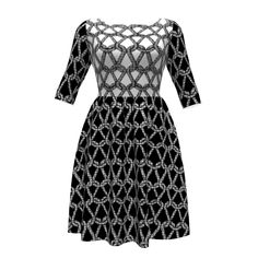 Colette Patterns Moneta Dress made with Spoonflower designs on Sprout Patterns. rope net pattern in black and white