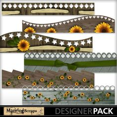 Country Sunflowers Borders  all 12 inches wide