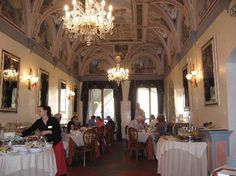 Hotel Degli Orafi, Florence Italy.  We had breakfast here each morning, with many, many cappucinos. Ceiling painted similar to Sistine Chapel