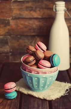 Macarons and a bottle of milk