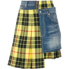 Junya Watanabe Comme Des patchwork skirt ($1,567) ❤ liked on Polyvore featuring skirts, blue, colorful skirts, real leather skirt, junya watanabe comme des garçons, blue skirt and multi color skirt