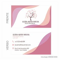 Cartões de visita modelo Psicologia colorido frente e verso em couchê 250gr + VERNIZ TOTAL FRENTE - CÓDIGO 0030