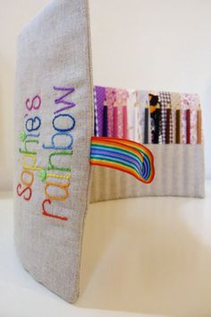 Pencil Case Roll  http://catchmyparty.com/vendors/product/rainbow-pencil-roll-crayola-pencils-personalised