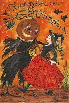 4x6 Halloween Postcard Print Le 1 27 RYTA Vintage Style Art Black Cat Witch   eBay