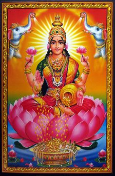 Lakshmi, Goddess of good fortune. She epitomises grace, beauty, and bountiful plenty. Always depicted with the lotus, a symbol of purity and growth, she is venerated for auspicious nature.   Gold coins shower form her hand. Lakshmi is the avenue to pleasure and abundance in all forms, including vitality and energy, the free flow of which brings prosperity.