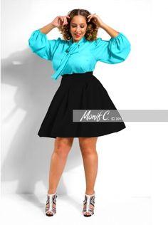 """Tamara"" Pleated Skirt -Black - Clothing - Monif C"