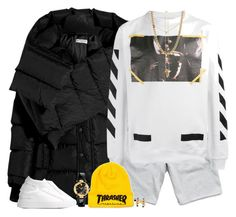 """""""Thrash"""" by oh-aurora ❤ liked on Polyvore featuring Balenciaga, Reigning Champ, Off-White, Delfina Delettrez, Versace, Common Projects and Lauren Ralph Lauren"""