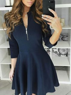 Zipper Sleeves Casual Pleated Dress Shop- Women's Best Online Shopping - Offering Huge Discounts on Dresses, Lingerie , Jumpsuits , Swimwear, Tops and More. Elegant Dresses, Sexy Dresses, Cute Dresses, Dress Outfits, Casual Dresses, Fashion Dresses, Dresses For Work, Summer Dresses, Formal Dresses