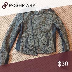 Faux Leather Panel Tweed Jacket Forever 21 Jacket Faux Leather Panel Tweed Jacket Forever 21 Jackets & Coats Utility Jackets