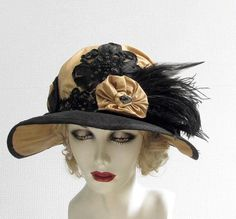 Wide Brim Vintage Style Edwardian Hat with Feathers Titanic  Black and Gold Downton Abbey Hat