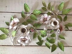 SALE -Vintage Italian tole Chippy Candlestick Holder Pair with Touch of Pink Wild Roses op Etsy, 113,80€