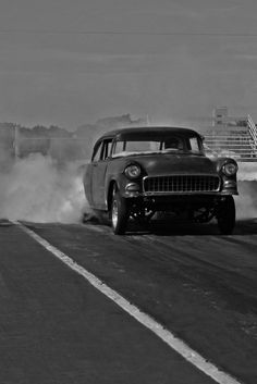 55 chevy drag racer.. Lovin' the old school drag racing!! Just ...