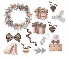 Pink Christmas Clipart Set Watercolor Christmas Clipart | Etsy Clipart Noel, Witch Clipart, Halloween Clipart, Christmas Clipart, Pink Christmas, Diy Christmas Ornaments, Winter Christmas, Christmas Cookies, Illustration Noel