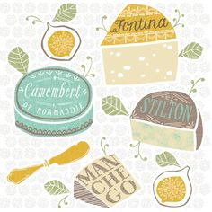 Cheeses Illustration by Maeve Parker for 2015 Food Calendar. www.maeveparker.com