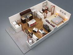 5 - apartamento de um quarto com pátio