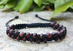 Double Wrap Minimalist Adjustable Beaded String Bracelet Braided Bracelet Red Tiger's Eye Healing Mens Jewelry Mens Bracelet Men's Gift