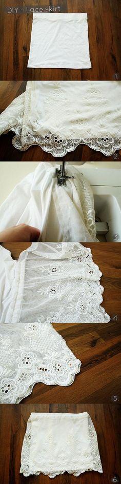 DIY Clothes DIY Refashion DIY - Lace skirt