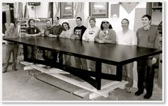 Altura's 15 foot long giant Nexus Table needed a real team to create! Unbelievable.  Altura available at NIBA Home. Made with American grown wood and constructed in Portland, Oregon.