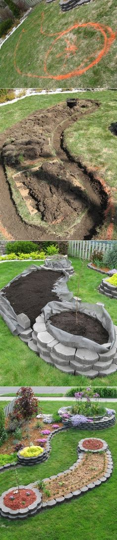 How to Build an Island Bed with Retaining Wall Bricks How To : Step 1 : Draw your shape. Step 2 : Dig the trenches. Step 3 : Lay your first bricks. Step 4 : unroll some high quality weed landscape fabric in your trench with the excess going towards the inside of the bed.