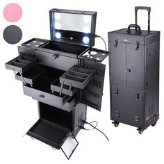 This professional makeup vanity with LED light features a large base compartment and multiple extendable trays making it convenient use and customization. It's the perfect choice for organization of hair dryer, flat Irons, hair straighteners and all your cosmetics, etc. With LED lights and Mirror bring you more conveni