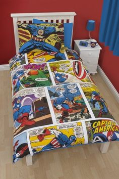This awesome Captain America Duvet Cover Set is a must for Marvel Comics fans. The duvet cover is designed to look like a comic book staring the world famous superhero. Marvel Comics, Marvel Avengers, Avengers Bedding, Marvel Bedding, Avengers Bedroom, Chambre Nolan, Defenders Marvel, Superhero Room, Baby Superhero