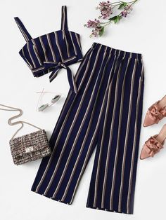 Outfits - Plus Knot Front Striped Top & Pant SheIn(Sheinside) Teenage Outfits, Kids Outfits Girls, Cute Girl Outfits, Cute Summer Outfits, Cute Casual Outfits, Pretty Outfits, Stylish Outfits, Stylish Clothes, Beautiful Outfits