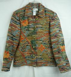 Coldwater Creek Women's Woven Multi Color Lined Button Front Jacket Size Medium