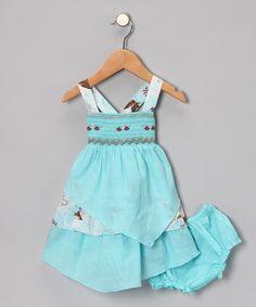 Aqua Wellini Handkerchief Dress & Diaper Cover - Infant