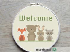 modern cross stitch pattern WELCOME woodland welcome por Happinesst