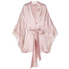 Carine Gilson Thème Louise lace-trimmed silk-satin kimono robe ($625) ❤ liked on Polyvore featuring intimates, robes, lingerie, pajamas, underwear, bath robes, pink bath robe, carine gilson, silk satin robe and pink kimono