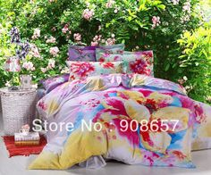 pink yellow orchid floral comforter queen king bedding set quilt/duvet covers cotton bedclothes coverlet set woven bedspreads