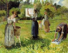 Learn more about Les Laveuses A Eragny, Esquisse Camille Pissarro - oil artwork, painted by one of the most celebrated masters in the history of art. Paul Gauguin, Camille Pissarro Paintings, Pissaro Paintings, Gustave Courbet, Art Ancien, Mary Cassatt, Painting Gallery, Oil Painting Reproductions, Impressionist Art