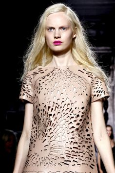 Laser Cut Fashion - laser cut leather dress with floral burst pattern - lasercut trend; cool fashion details // Giles