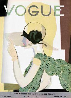 Vintage Vogue cover by Georges Lepape, May 1938 Vogue Vintage, Capas Vintage Da Vogue, Vintage Vogue Covers, Art Deco Illustration, Illustrations, Illustration Fashion, Cover Art, Vintage Posters, Vintage Art