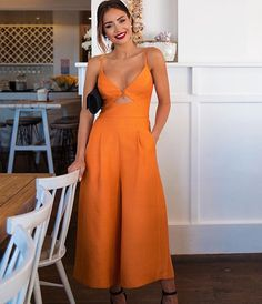 Front tie, with cutout, wide leg, orange jumpsuit. This spring or summer outfit is perfect for any occasion. Casual Outfits, Summer Outfits, Fashion Outfits, Womens Fashion, Summer Dresses, Fashion News, Casual Dresses, Overall, Look Chic